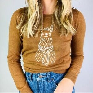 J. Crew Embroidered llama sweater